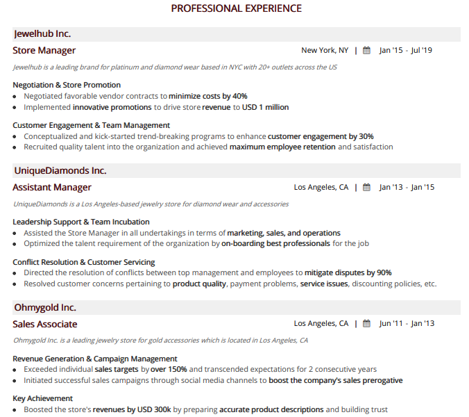 store-manager-resume-professional-experience