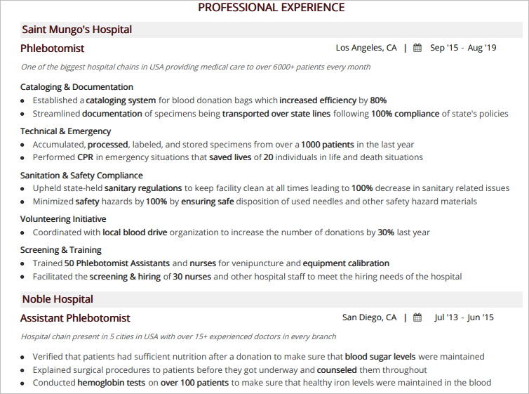 Phlebotomist-Resume-Professional-Experience
