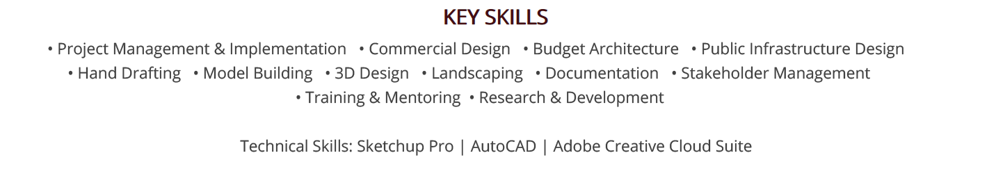 architecture-resume-key-skills
