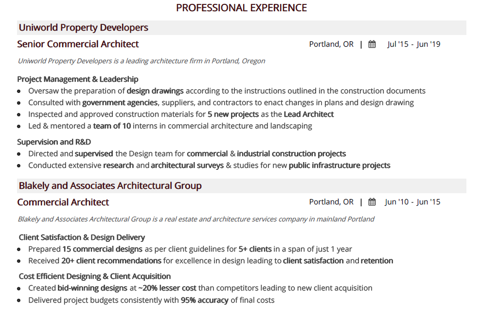 architecture-resume-professional-experience