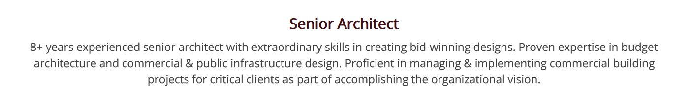 architecture-resume-summary