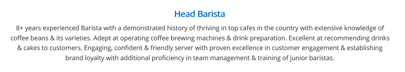 barista-resume-summary