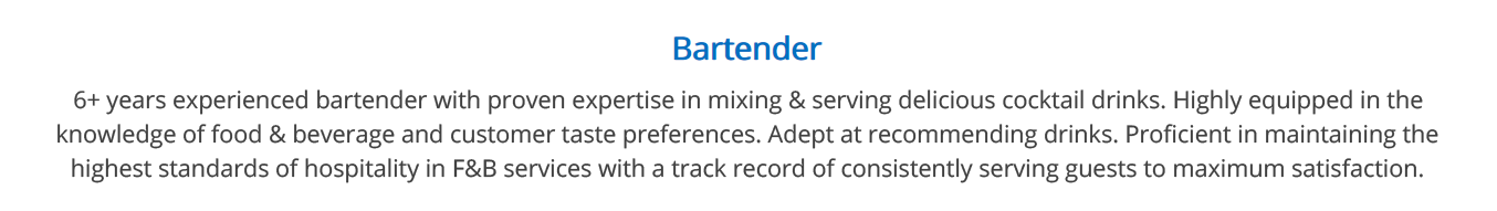 bartender-resume-summary