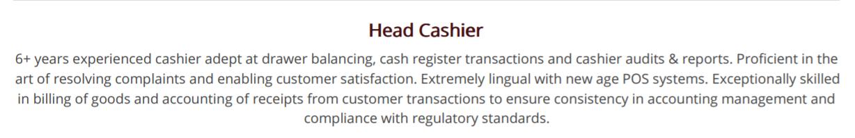 cashier-resume-summary