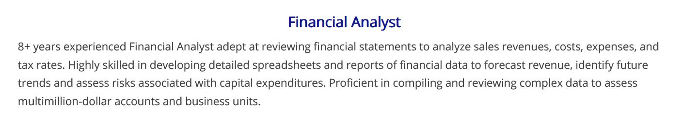financial-analyst-resume-summary