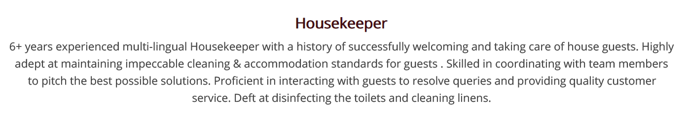 Housekeeping Resume The 2020 Guide With 20 Examples