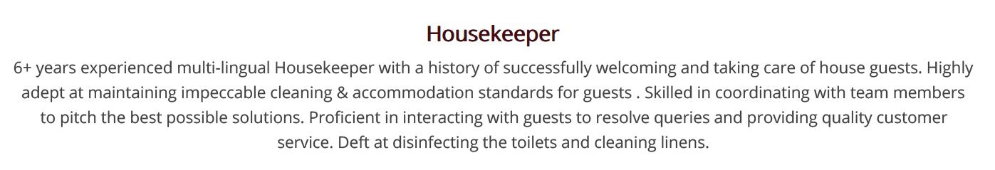 housekeeping-resume-summary