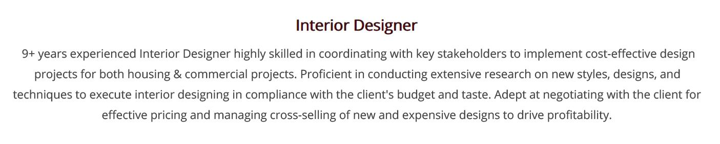 Interior Design Resume Write Your 2020 Interior Designer Resume Today