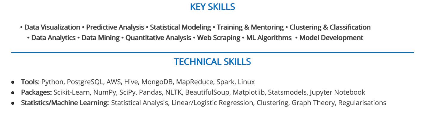 machine-learning-resume-key-skills