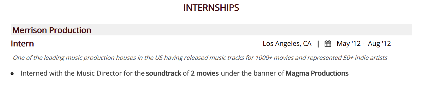 music-resume-internships