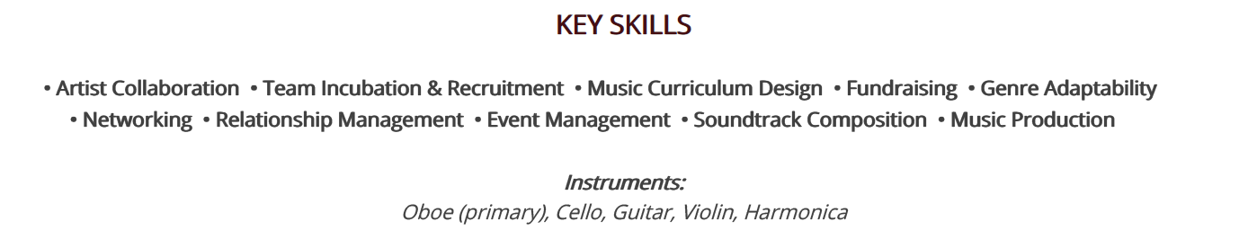 music-resume-key-skills