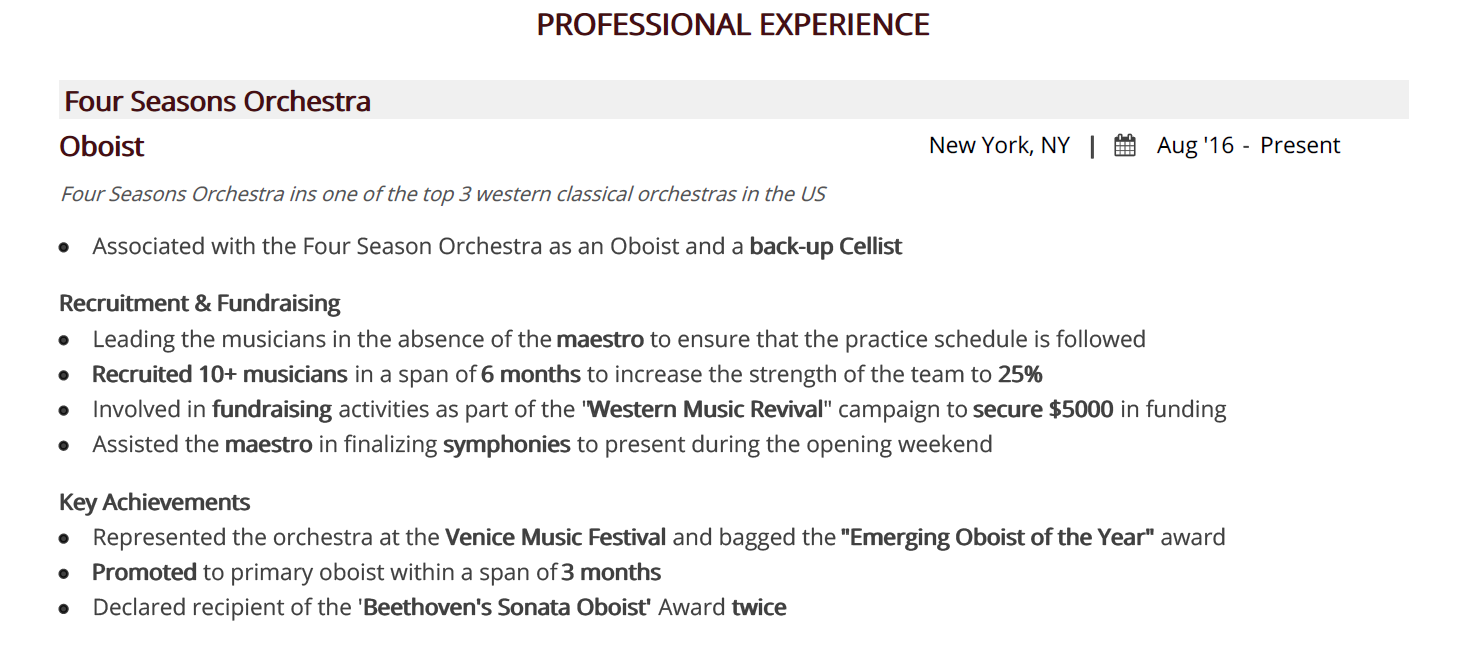 music-resume-professional-experience