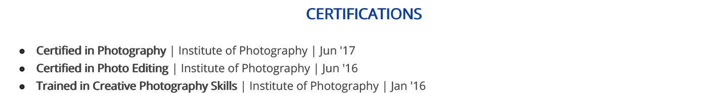 photographer-resume-certifications