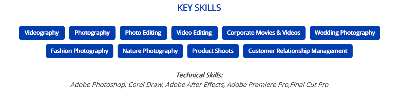 photographer-resume-key-skills