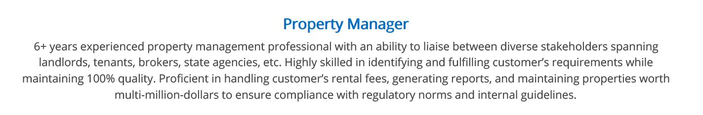 property-manager-resume-summary