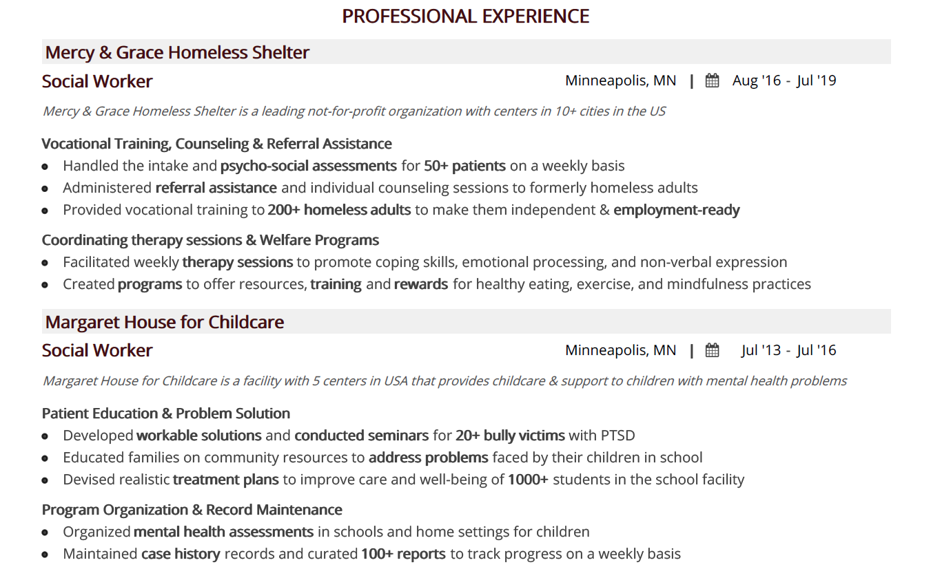 social-work-resume-professional-experience-1
