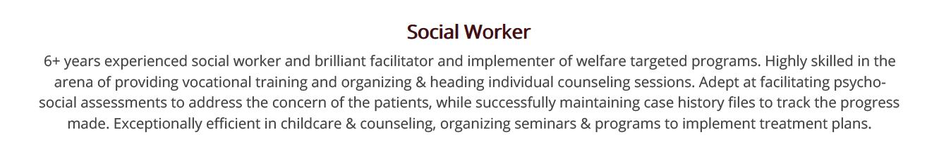 social-work-resume-summary