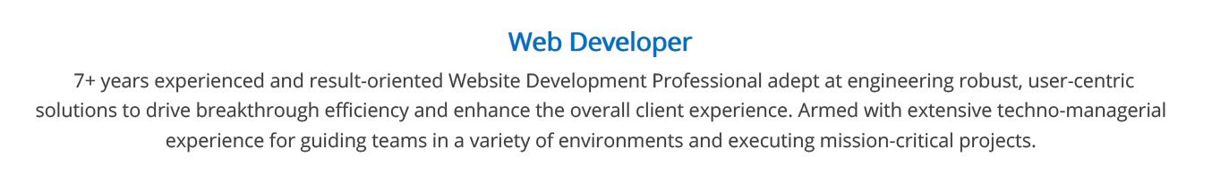 web-developer-resume-summary