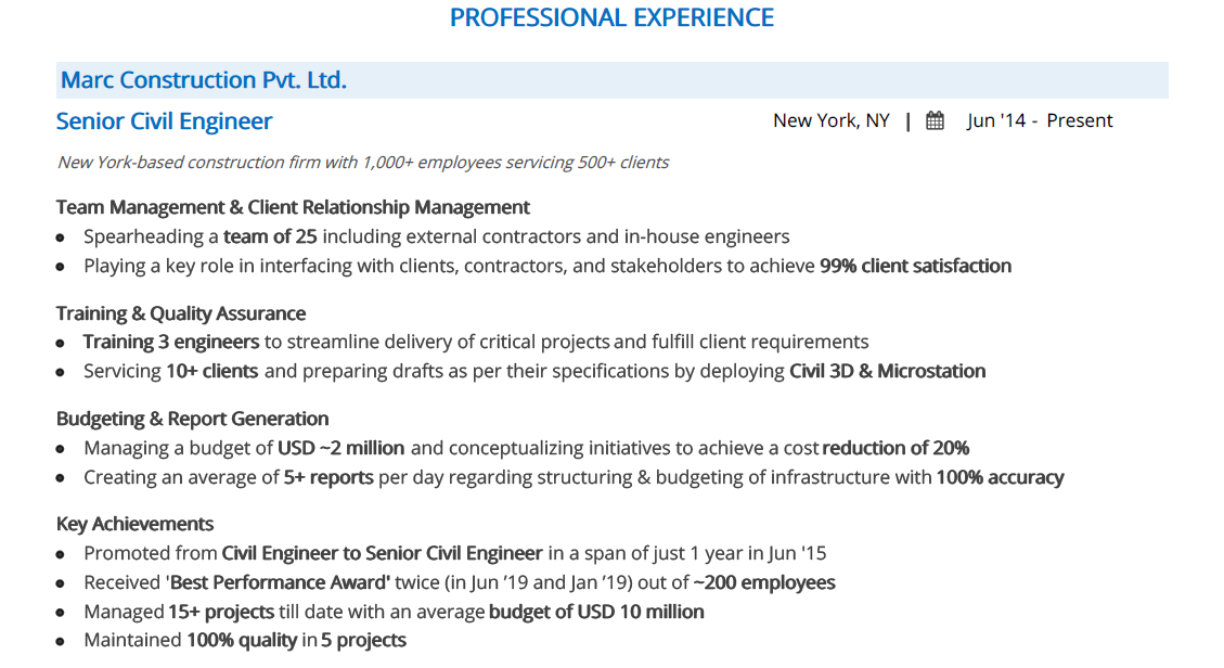 Civil-Engineer-resume-professional-experience
