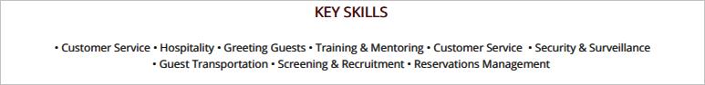 Hospitality-Resume-Key-Skills