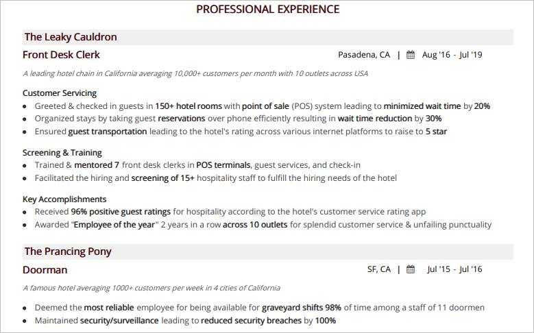 Hospitality-Resume-Professional-Experience
