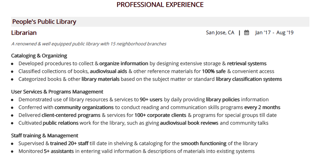 Librarian-resume-professional-experience