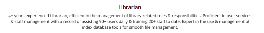 Librarian-resume-summary