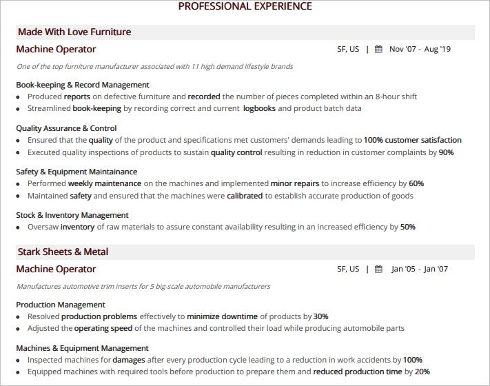 Machine-Operator-Professional-Experience