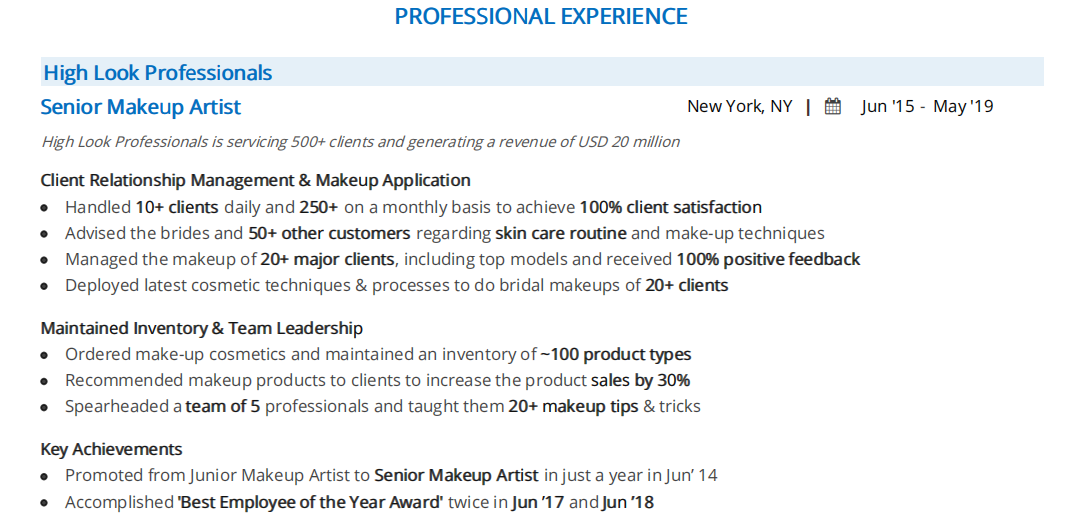 Makeup Artist Resume The 2020 Guide With 10 Samples Examples
