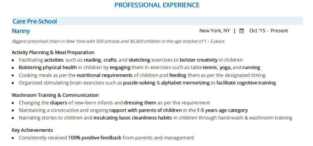 Nanny Resume The 2020 Guide With 10 Samples Examples