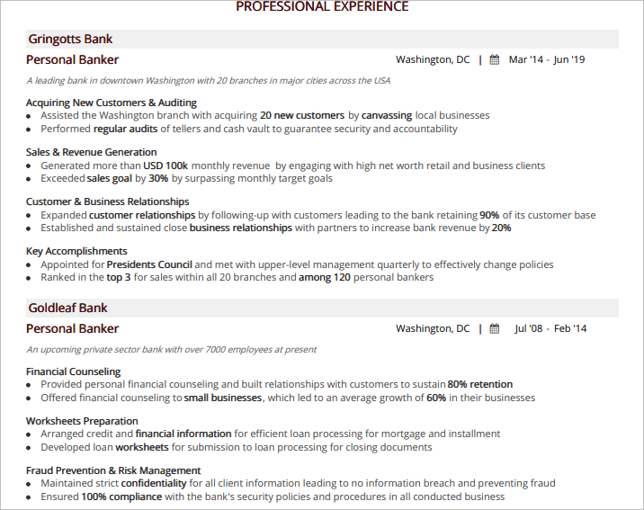 Personal-Banker-Professional-Experience