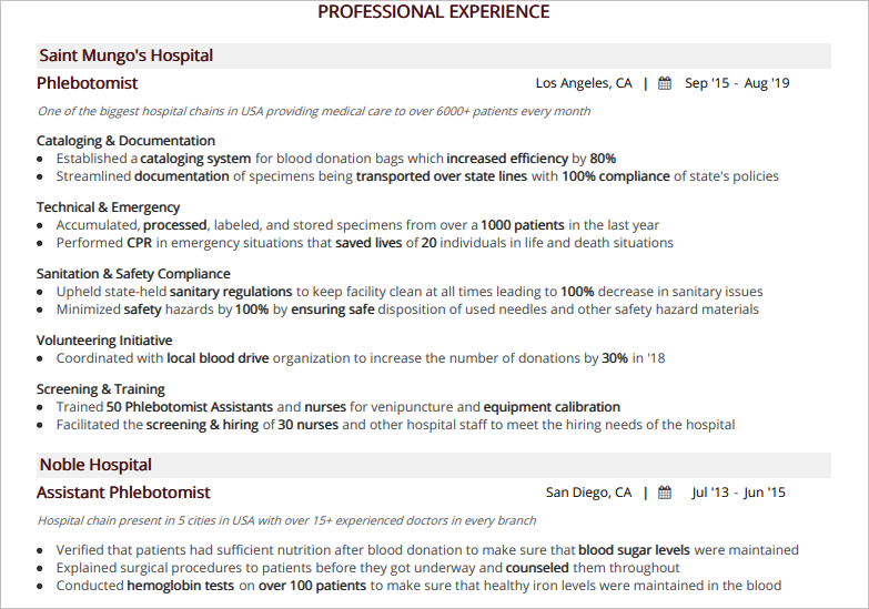Phlebotomist-Professional-Experience