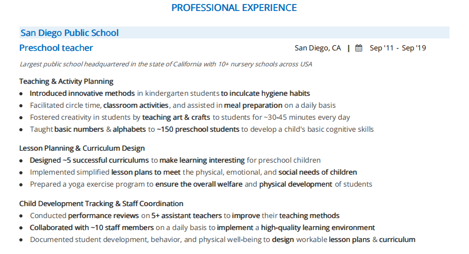 Preschool Teacher Resume The 2020 Guide With 10 Samples Examples