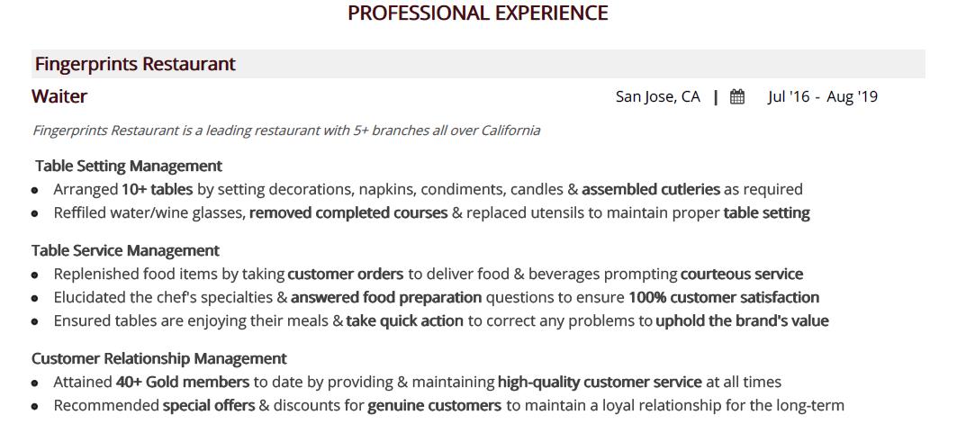 Waiter-resume-professional-experience