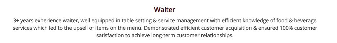 Waiter-resume-summary