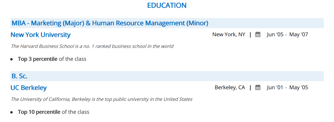 business-resume-education