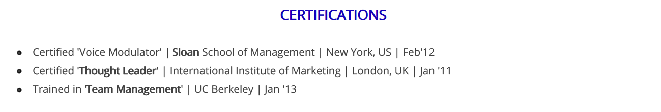 call-center-resume-certifications
