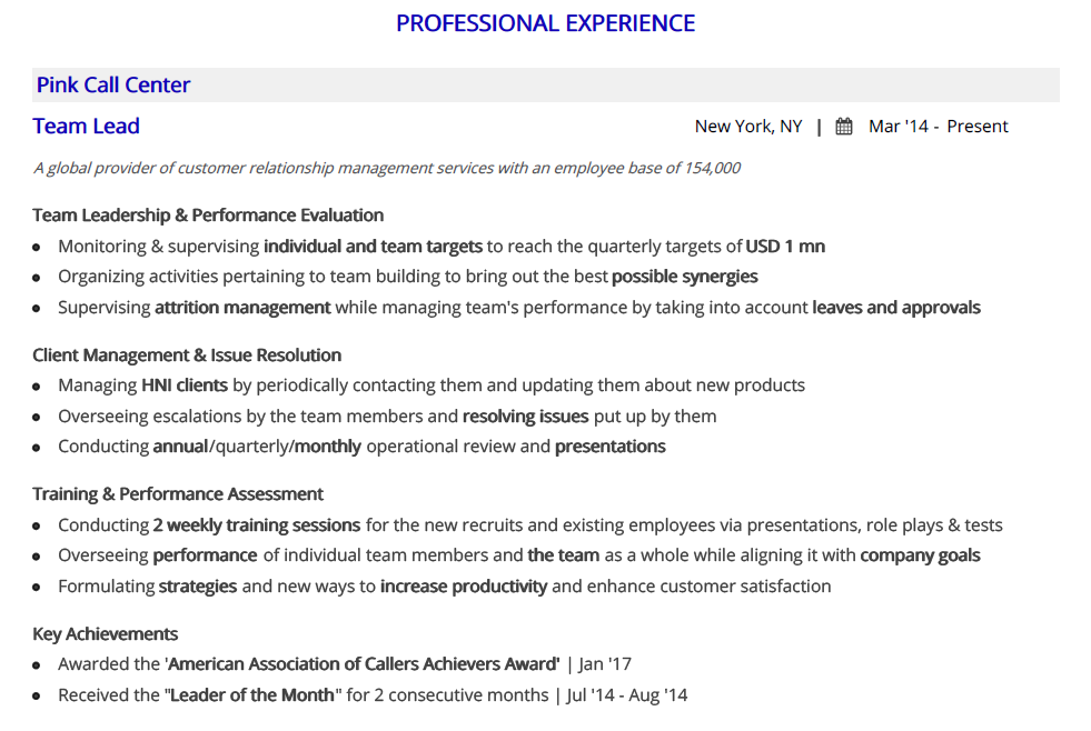 call-center-resume-professional-experience