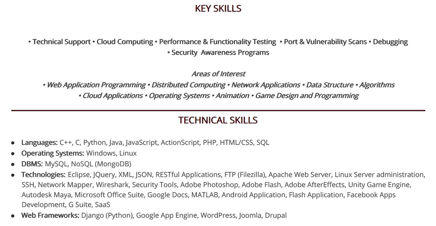 computer-science-resume-key-skills