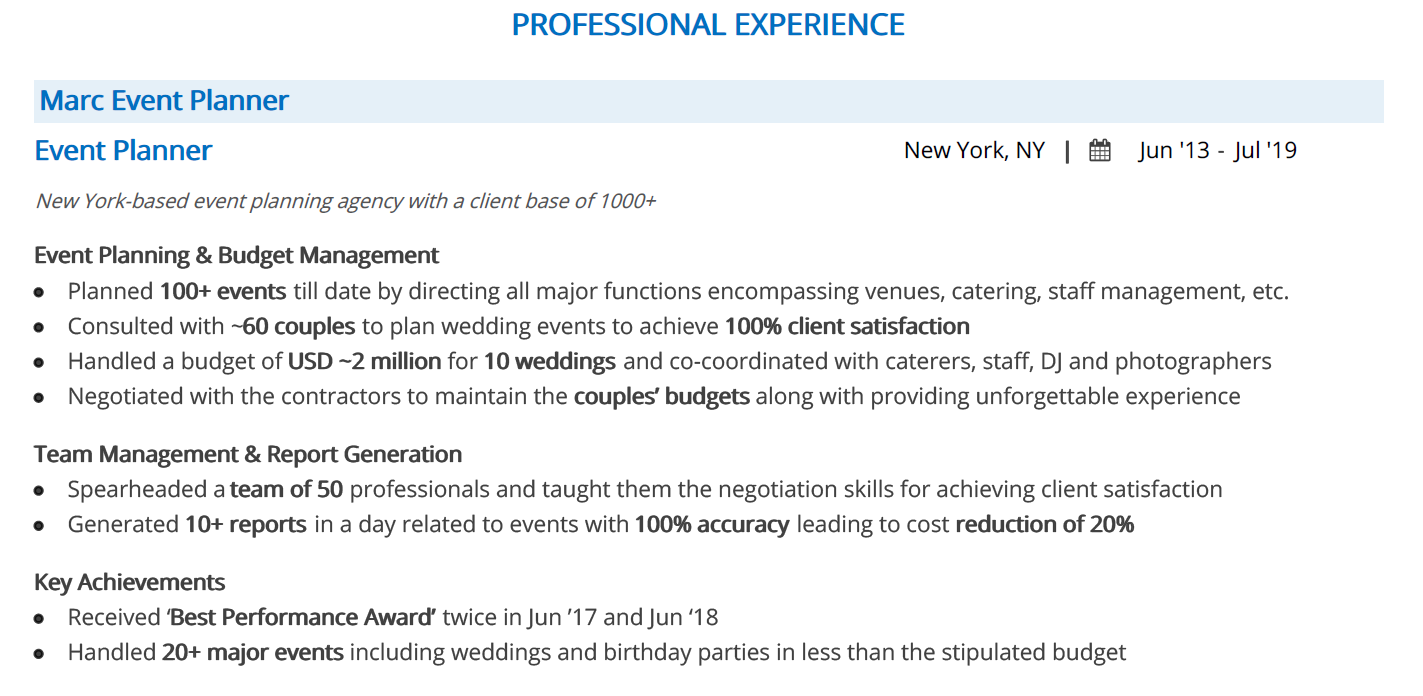 event-planner-resume-professional-experience
