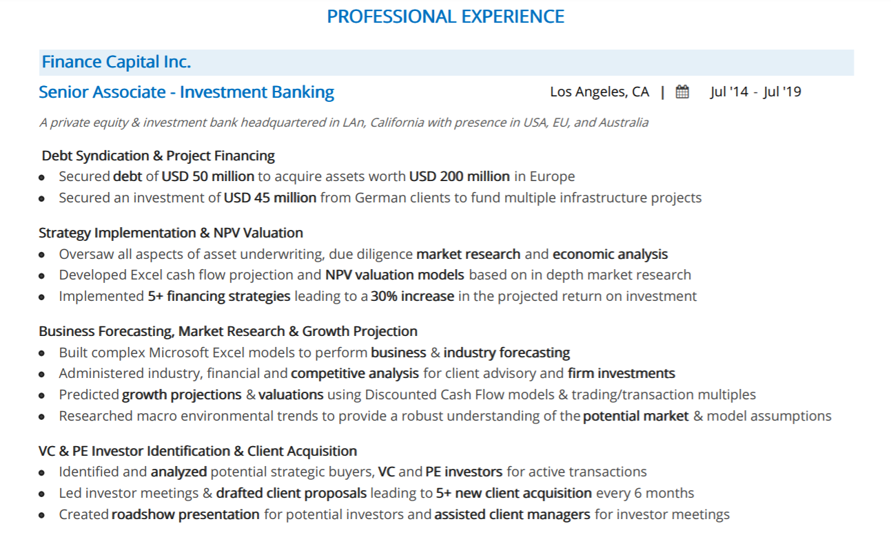investment-banking-professional-experience