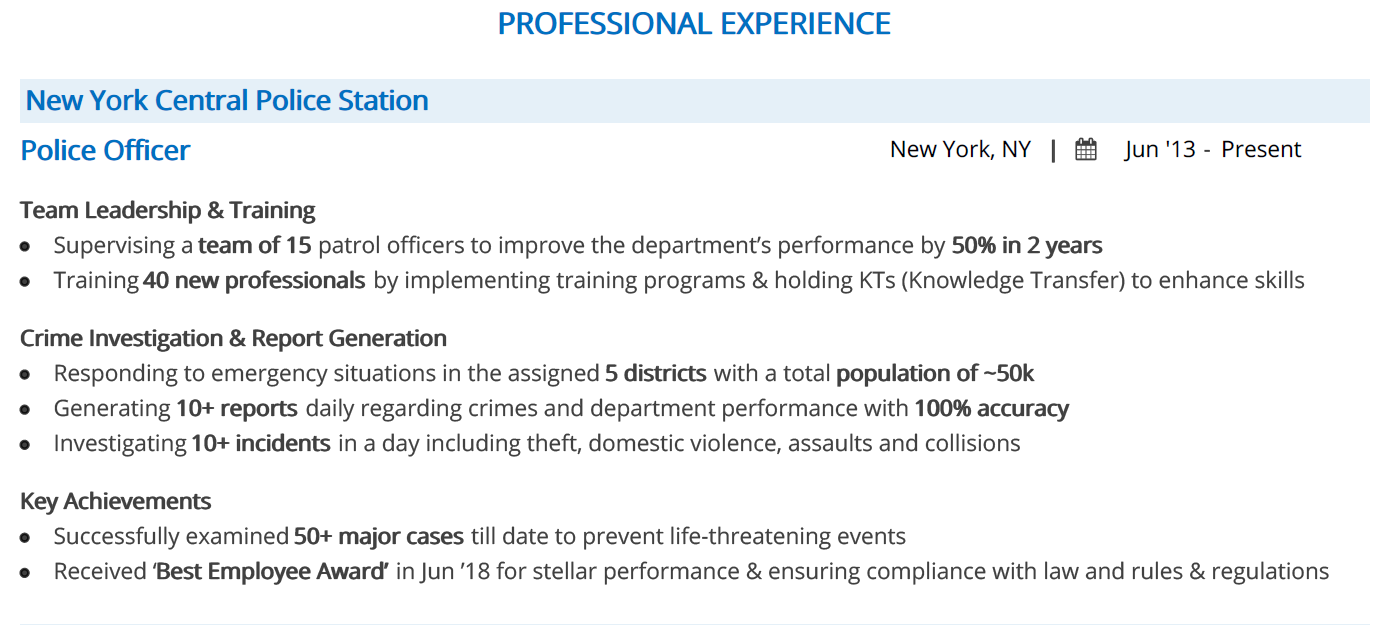 police-officer-resume-professional-experience