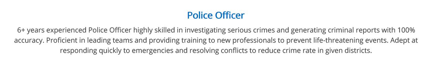 police-officer-resume-summary