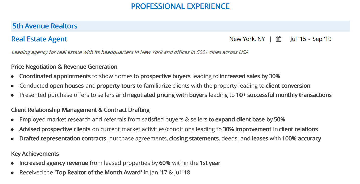 real-estate-resume-professional-experience