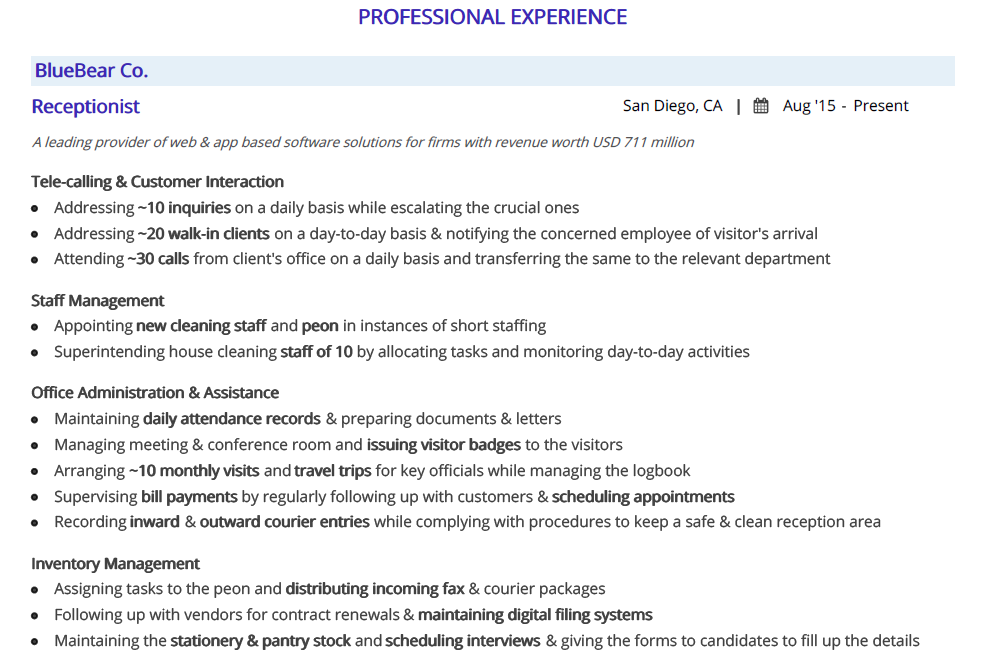 receptionist-resume-professional-experience