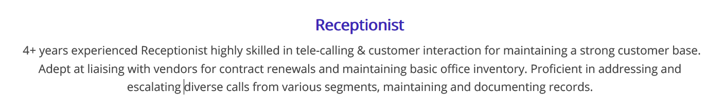 receptionist-resume-summary