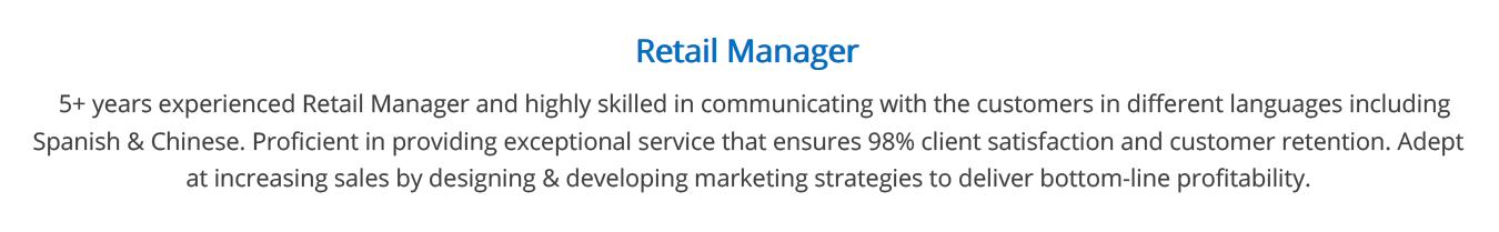 retail-resume-summary