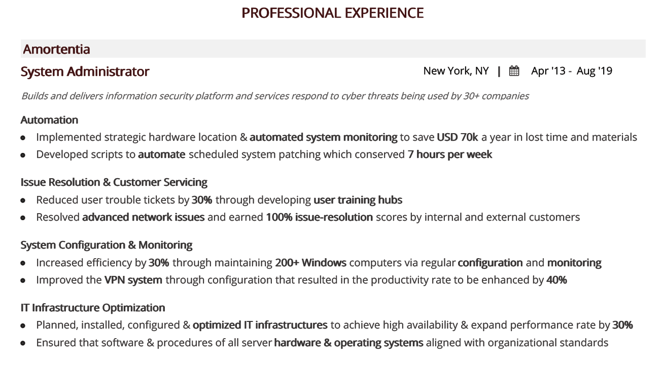 system-administrator-resume-professional-experience
