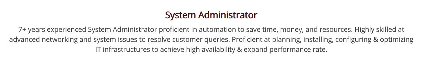 system-administrator-resume-summary
