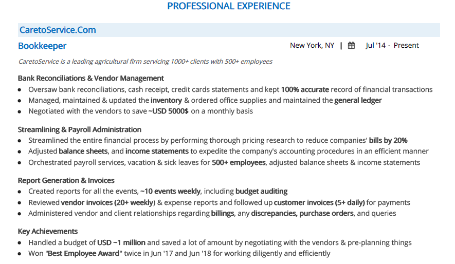 Bookkeeper Resume Complete 2020 Guide With 10 Examples